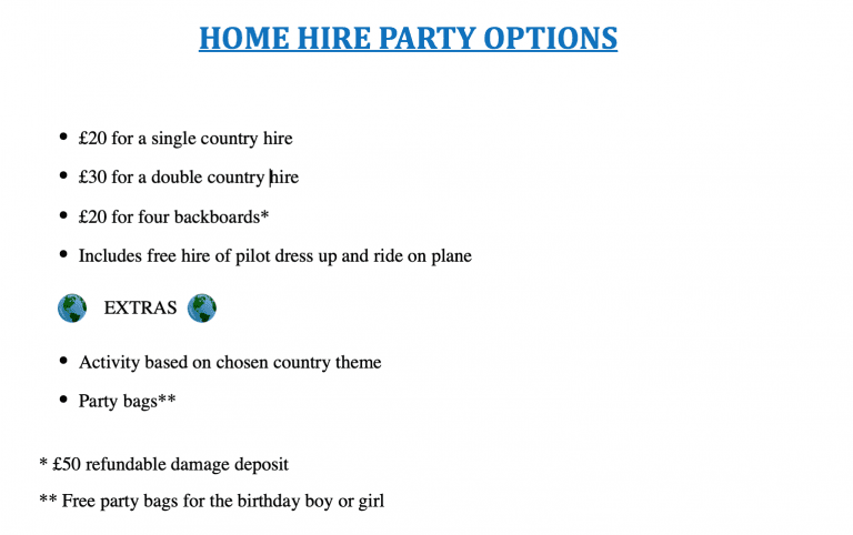 Home hire party packages